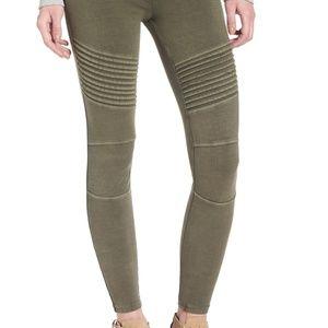bp | Olive Green Textured Moto Leggings - XS